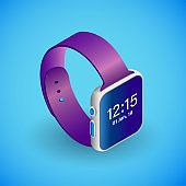 Realistic smartwatch in isometry. Vector isometric illustration of electronic device, smart watches with working screen and operating system icons. Electronic gadget, watch in the vertical position isolated on blue background