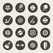 Sport equipment vector icons
