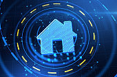 Abstract glowing house icon on blue landing page backdrop. Smart home and innovation concept. 3D Rendering.