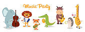 Music poster with cartoon animals musicians playing musical instruents. Collection of cute cartoon musicians with guitar, flute, maracas, violin, sax.