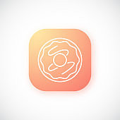 Gradient orange button with thin Donut icon isolated on white background. Vector template for ui, ux and website design.