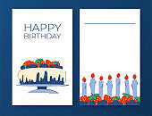 Birthday invitation poster set. Postcards for congratulations. Place for your text. Cake with blueberries and strawberries, candles, berry ornament. Vector