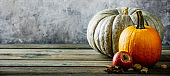 Autumn background on wooden tabel against old rust condition vintage wall