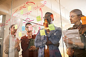 Pensive start-up team brainstorming in front of mind map on glass wall while working on new business project.