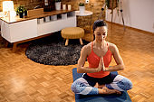 Peaceful woman practicing Yoga in namaste pose in the living room.