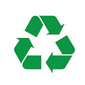 Recycle symbol green triangle arrows. Vector illustration