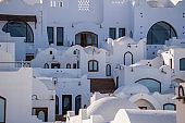 White wall buildings and stairs on the street in resort town Sharm El Sheikh, Egypt