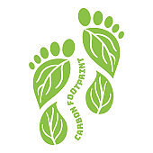 Carbon Footprint icon from foots shape. CO2 ecological footprint symbols with green leaves. Greenhouse gas emission. Environmental and climate change concept