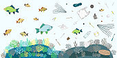 Poster of single-use plastics float in the water with fish. Prevention of water pollution banner. Microplastic concept. Hand drawn vector illustration.