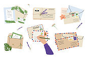 Flat lay illustration of envelopes, letters, postage stamps, stationery and tan female hand writing mail. Workspace top view. Hand drawn vector illustration