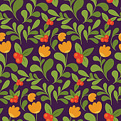 Seamless floral pattern in the style of Russian painting. Vector.