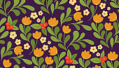 Seamless floral pattern in the style of Russian painting. Vector botanical illustration.
