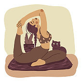 Young woman doing yoga, stretching. Vector.