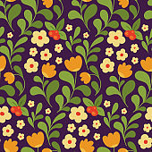 Seamless pattern with simply made plants. Vector.