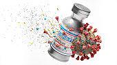 Coronavirus Covid-19 vaccine. Vaccination destroying Covid19 virus