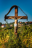 View from famous wine street in south styria, Austria on tuscany like vineyard hills.