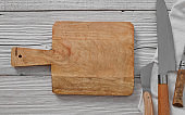 Empty cutting board and knifes