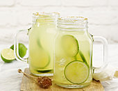 Fresh lime drink with brown sugar