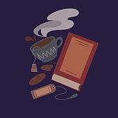 Cozy evening reading of books. Flat night illustration of a book, a cup of tea, a cookie and a bookmark on blue background. Vector cartoon object