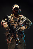 Special forces operator with rifle