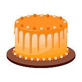 Birthday cake on white background, vector illustration