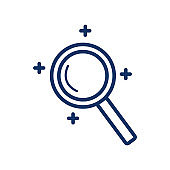 Magnifier icon on white background, vector illustration