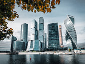 Moscow city. Moscow International Business Center , Russia 2019-10-05.