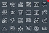 Seo Thin Line Related Icons Set on Black Background.