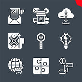 White solid icons