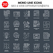 Thin Line Icons Set of Search Engine Optimization