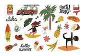 Cute summer vacation on Hawaii or Guam Islands set. Retro bus with surfboards, palm tree, surfers, ukulele, flowers funny lettering and various beach vacation accessories.