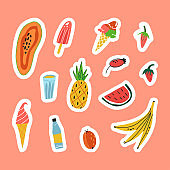 Funny summer stickers set with refresher cold drinks, frozen desserts and juicy fruits.