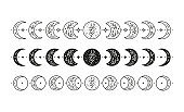 Set of hand drawn celestial floral moon phases.