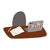 School desk, pupil or student workplace. Table, chair and exercise book with pencil, open laptop with stickers. Online studying, classes, distant learning concept. Vector isolated illustration.