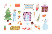 Cute winter holidays collection. Stocking, gifts, window with fairy lights, gingerbread man, snowman, cacao with little marshmallows, candle, candy cane. A girl decorating Christmas tree with baubles