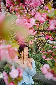 Woman walks in park with blooming sakura trees