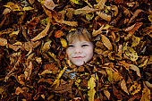 Fall portrait of little toddler girl in autumn park on warm october day with oak and maple leaf. Child lie in lot of leaves. Family outdoor fun in fall. Kid smiling. Healthy baby girl