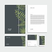 Abstract tropical leaves  corporate identity. Stationery set. Creative design.