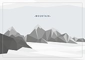 Abstract geometric background with illustration of mountain landscape. Vector creative design.