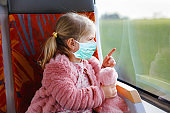 Cute little toddler girl wear medical mask and sitting in train and looking out of window. Child, family travel during corona virus pandemic lockdown. People in mask as covid preventive protection