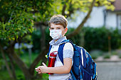 Happy little kid boy, medical mask, water bottle and backpack or satchel. Schoolkid on way to school. Healthy child outdoors. Back to school after quarantine time from corona pandemic disease lockdown