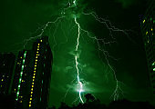 Pop Art Surreal Style Green Colored Lightning Strikes in the Urban Night Sky