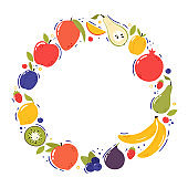 Fruits in a round frame. Cartoon style, hand drawn vector illustration.