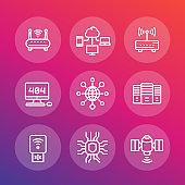 network, internet data technology line icons set, server, usb modem, router, cloud computing