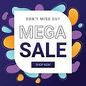 Mega Sale, Don't miss out  square web banner design template.