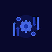 automation and optimization process, vector icon on dark