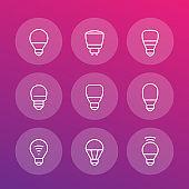 led light bulbs icons, linear