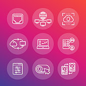 servers, networks, cloud solutions, data storage line icons set