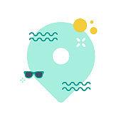 Summer destination pointer. Minimalist summer background. Square format. Vector illustration, flat design