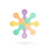 Abstract geometrical symbol. Rounded shapes. Multicolored icon. Vector illustration, flat design